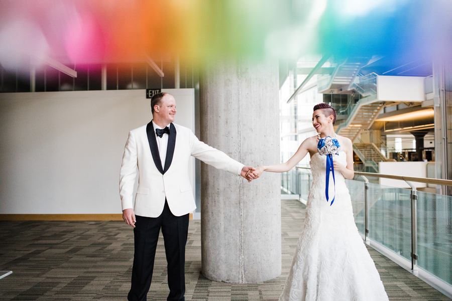 rainbow effect wedding photo