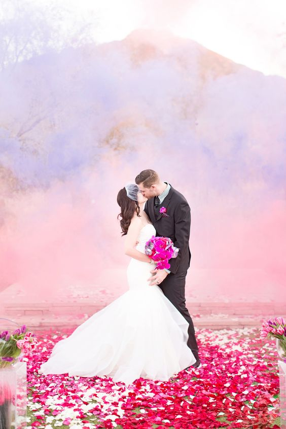 smoke bomb wedding photo