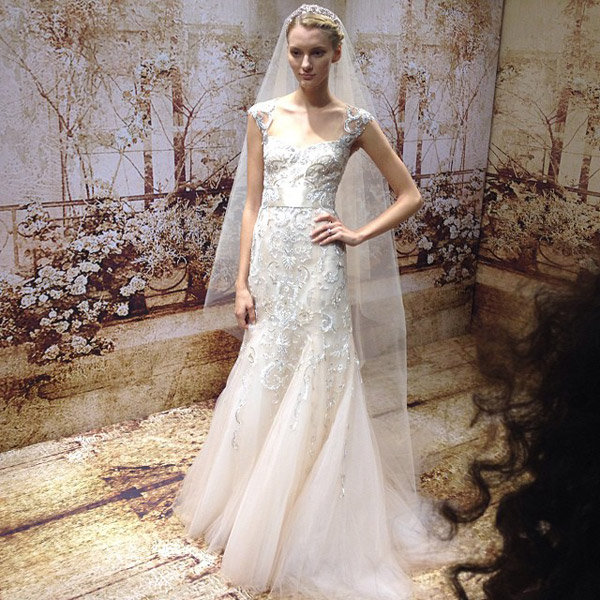 Bridal runway shows 10 10 recap bridalguide for Monique lhuillier pink wedding dress