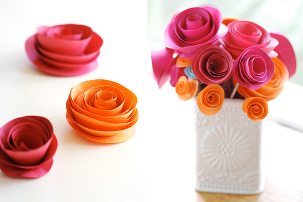 red and orange paper rose centerpiece
