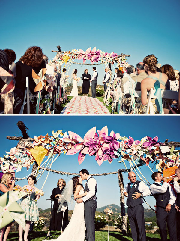 whimsical kite wedding bride and groom first kiss