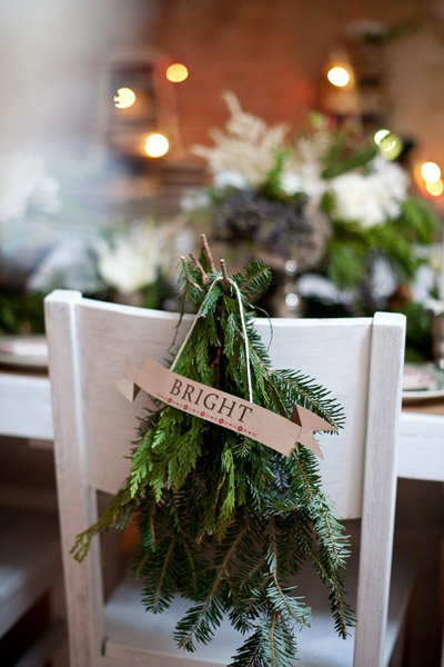 fir chair winter wedding decorations