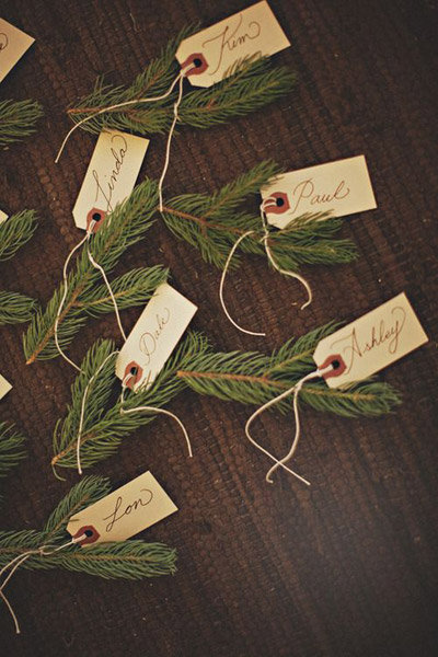 pine needle seating cards winter