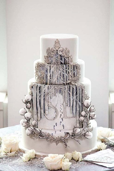 hand painted winter wedding cake