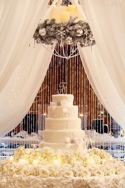 cake backdrop winter wedding decoration