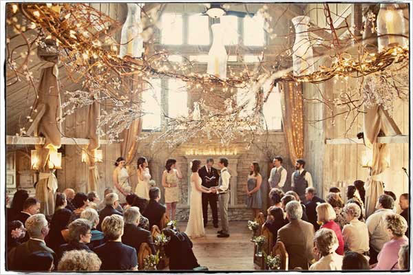 barn rustic wedding winter