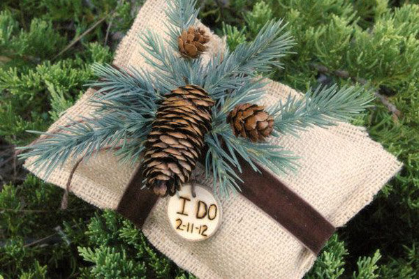 burlap rustic ring bearer pillow