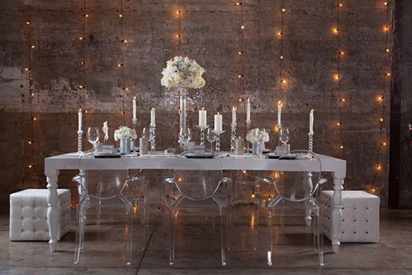 modern ghost chairs winter wedding