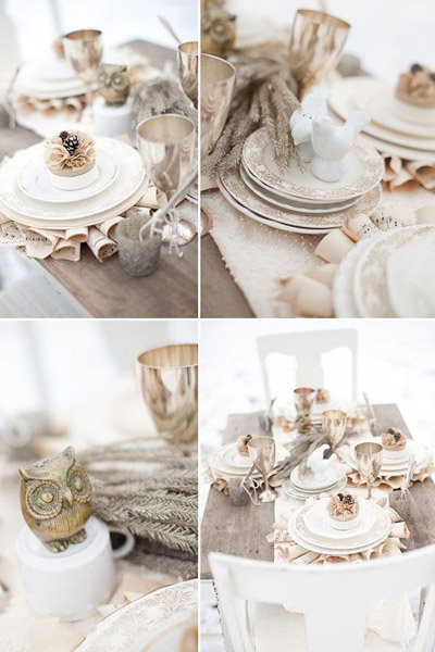 winter wedding tablescape peach owl