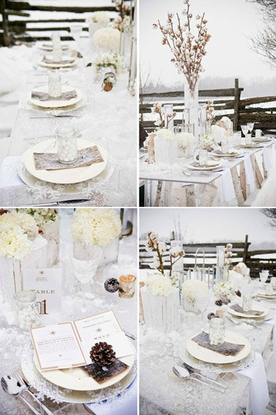 winter wedding tablescape floral centerpieces
