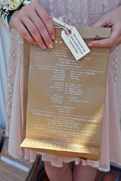 brown paper bag wedding program