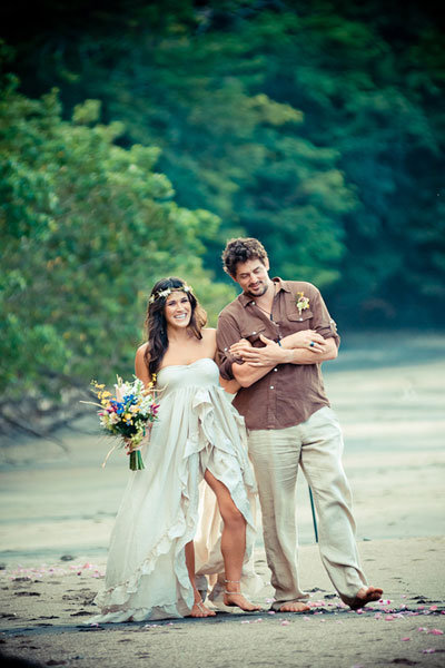 boho-chic bride with her groom
