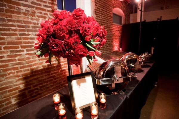 buffet with red flower decoration