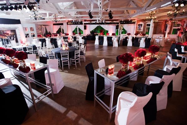 red white and black engagement party