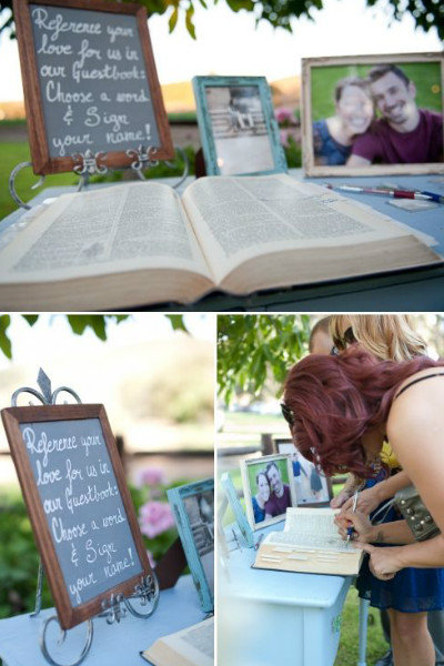 dictionary wedding guest book unique