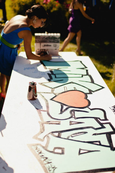 graffiti industrial wedding guest book