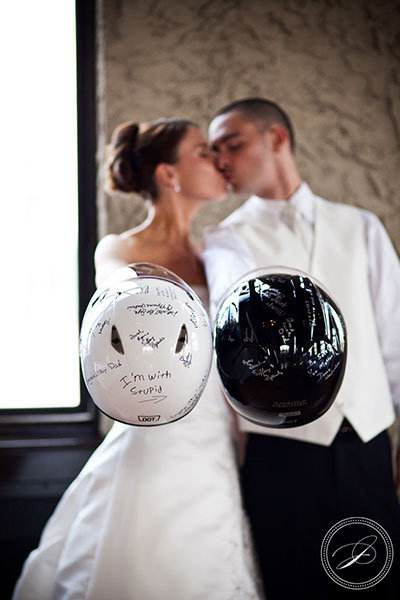 motorcycle helmets guest book wedding