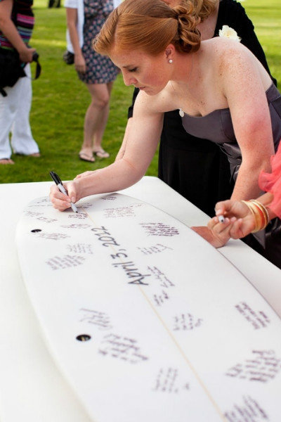 surf board wedding guest book