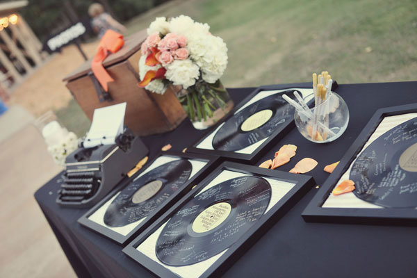 vinyl records wedding guest book