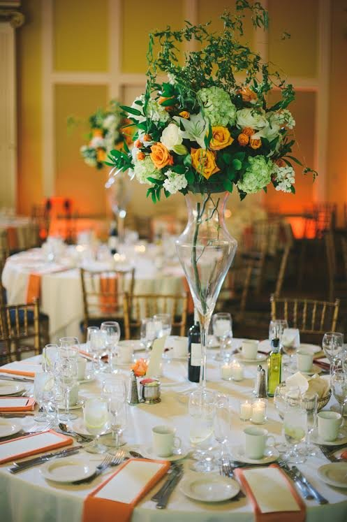 green and orange centerpiece