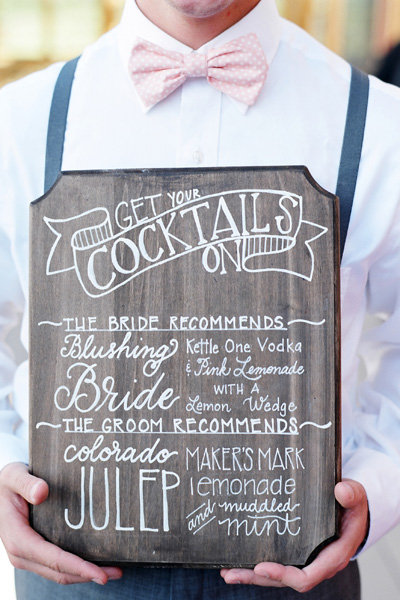wedding cocktail board