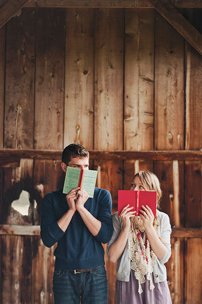 engagement photo with books
