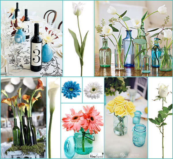 Flower Arrangements In Wine Bottles: Easy DIY Wedding Centerpieces