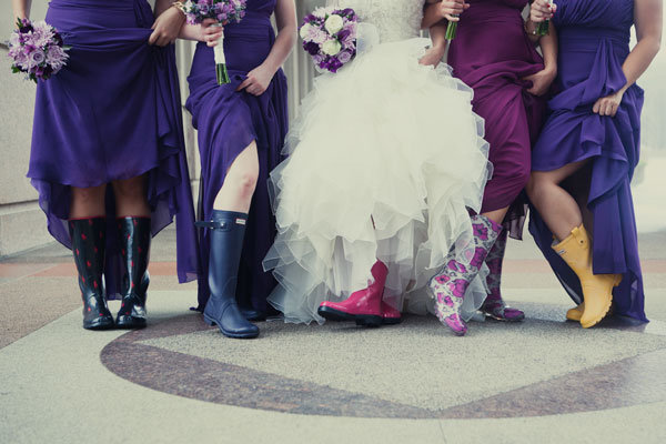 bridesmaids wearing rainboots