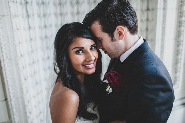multi-cultural bride and groom