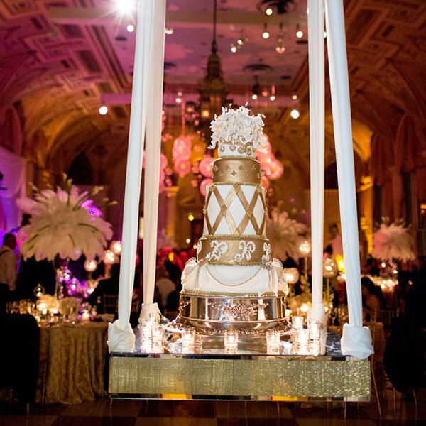 Their Five Tiered Cake And Pedastal Display Was The Perfect Finishing Touch For Reception In Mediterranean Ballroom