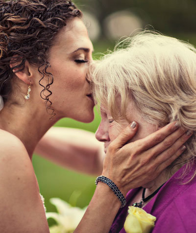 bride kissing grandma
