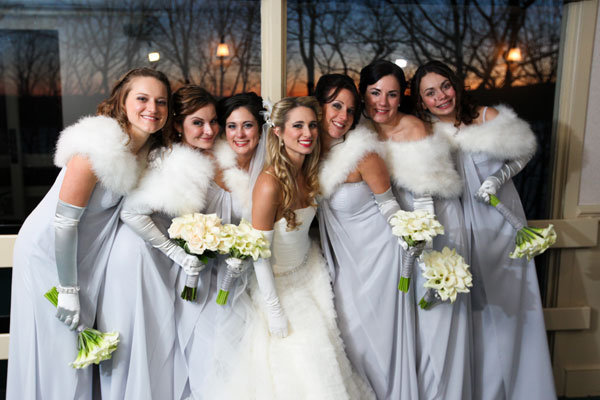 bridesmaids with fur shrugs