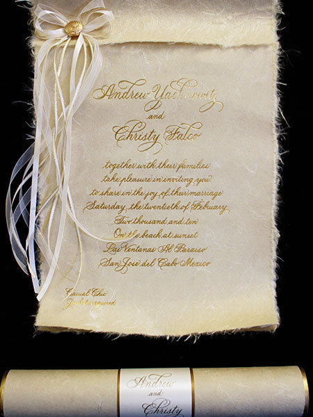natural scroll invitation arlene segal