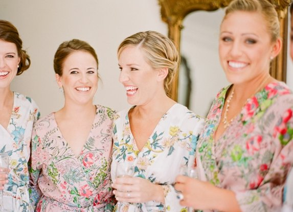 bridesmaids wearing robes