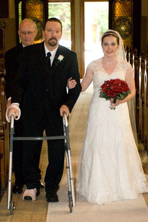 vicky walking down the aisle with her dad