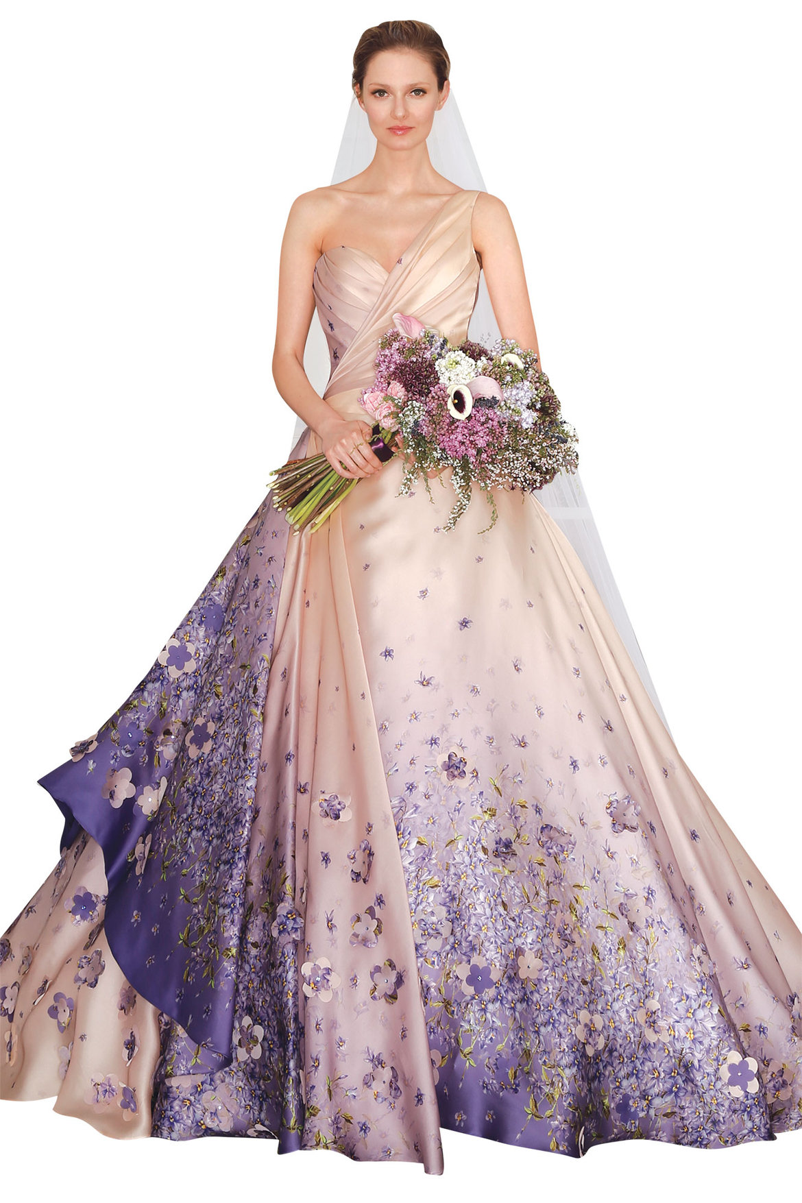 Runway report floral wedding dresses bridalguide for Floral dresses for weddings