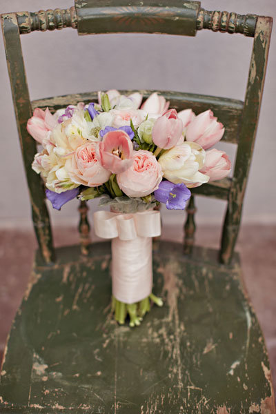 wedding bouquet with pastel colors