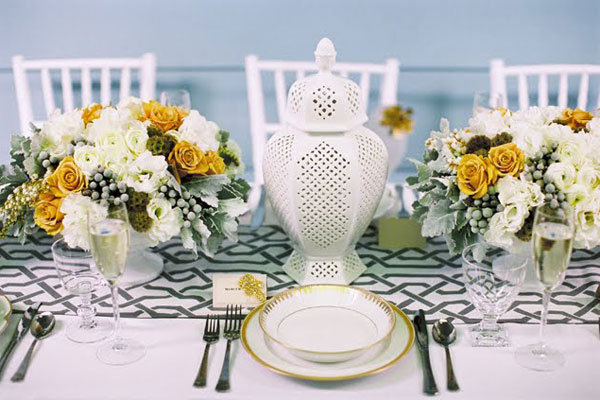wedding centerpiece in muted colors