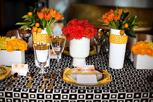 red and orange wedding centerpiece