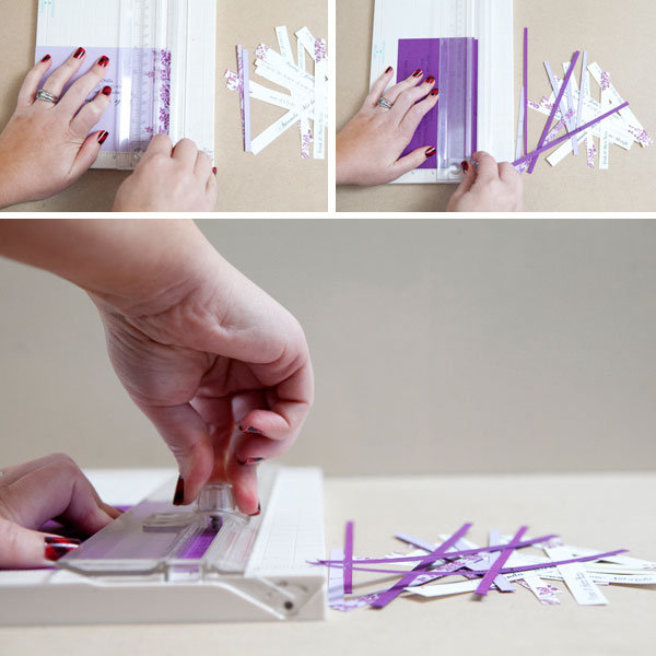 use the paper trimmer to cut the invitation into thin strips of paper