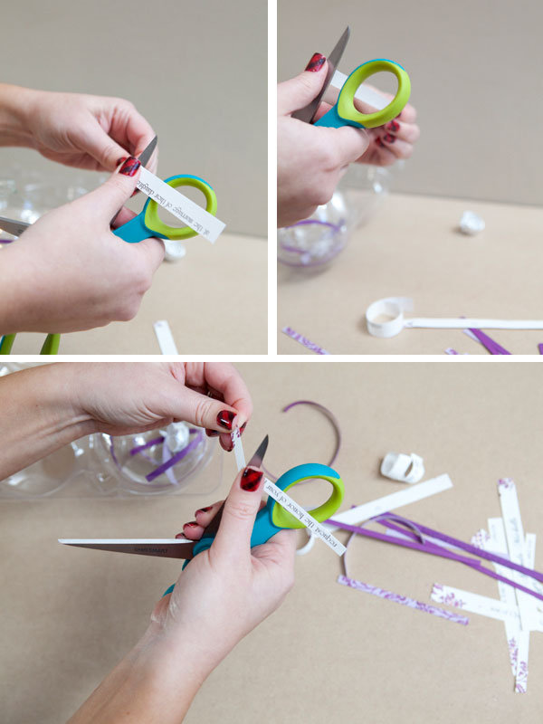 curl the strips of invitation with scissors