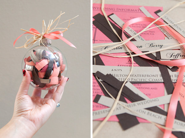 beach wedding invitation ornament
