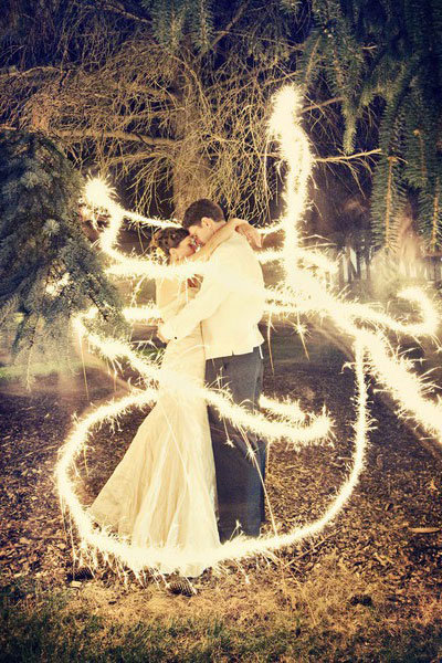 sparklers bride groom