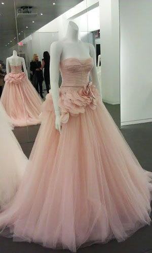 New vera wang gowns for 1 500 and under bridalguide for Pink wedding dress vera wang