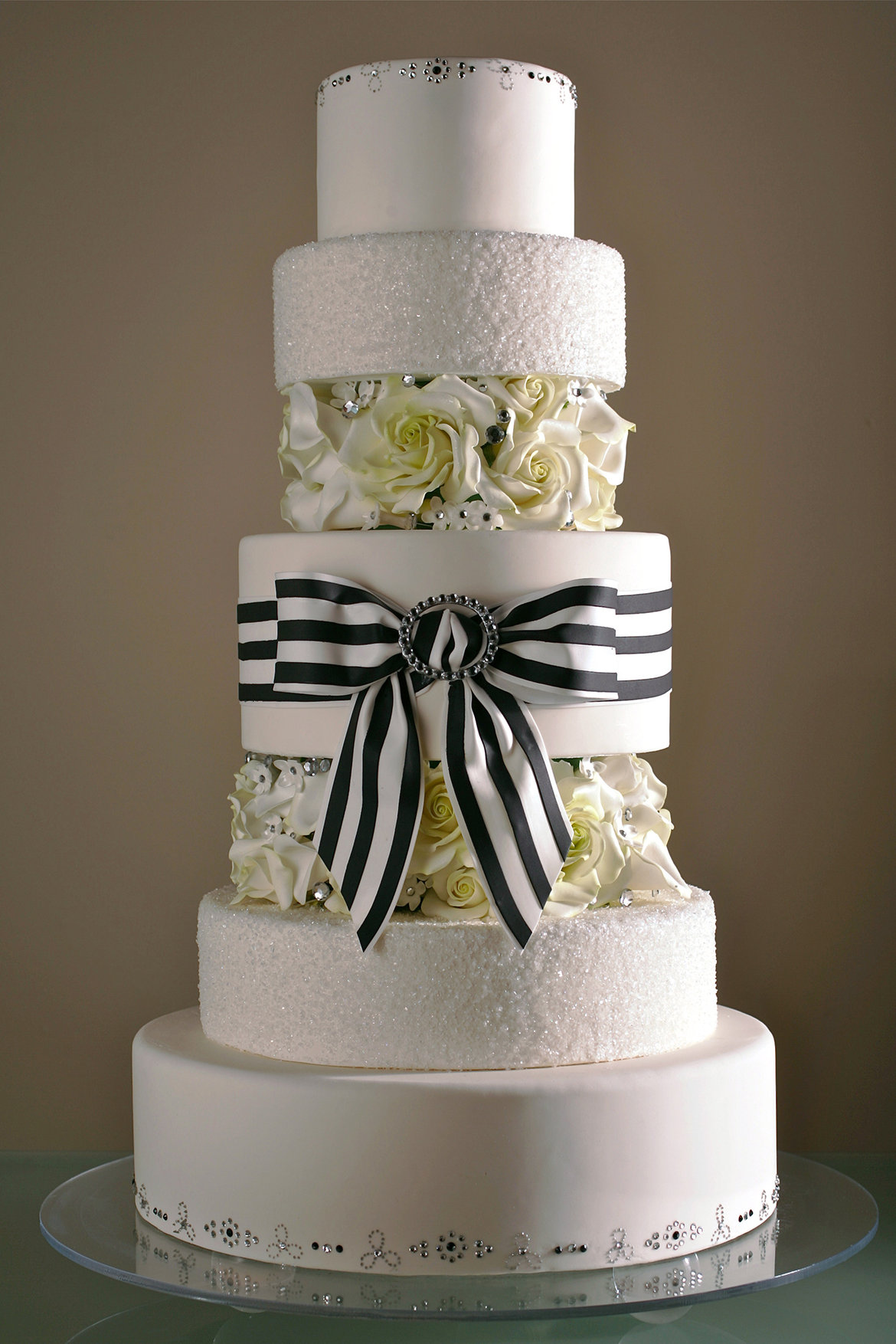 striped wedding cake