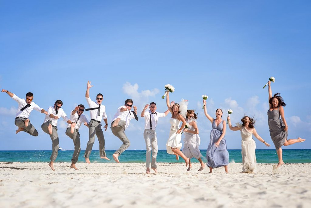 Palace Resorts Real Wedding Bridal Party on Beach