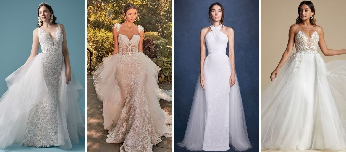 wedding gowns with detachable overskirts