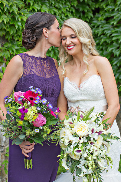 Two women with bridal flowers
