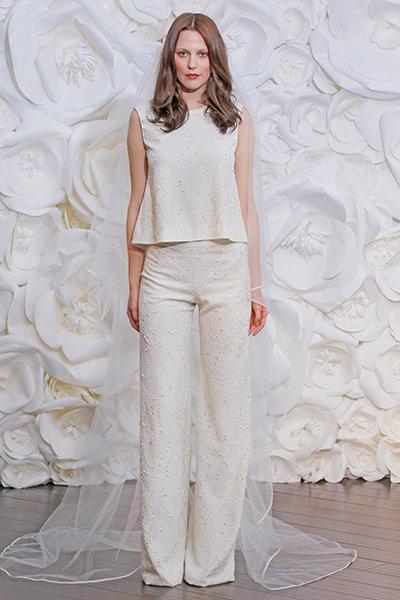 Wedding jumpsuit - Naeem Khan Silk gazaar ivory beaded pantsuit
