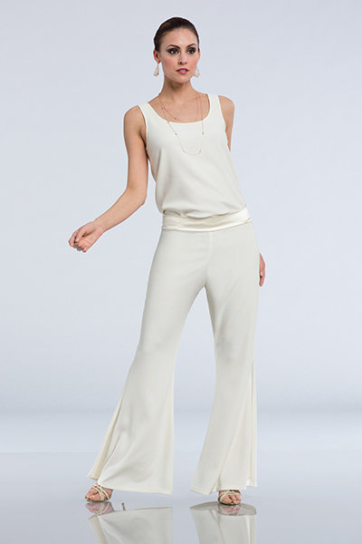 Wedding jumpsuit - Camisole featuring a scoop neckline paired with wide-legged crepe pants. Renata by Mon Cheri
